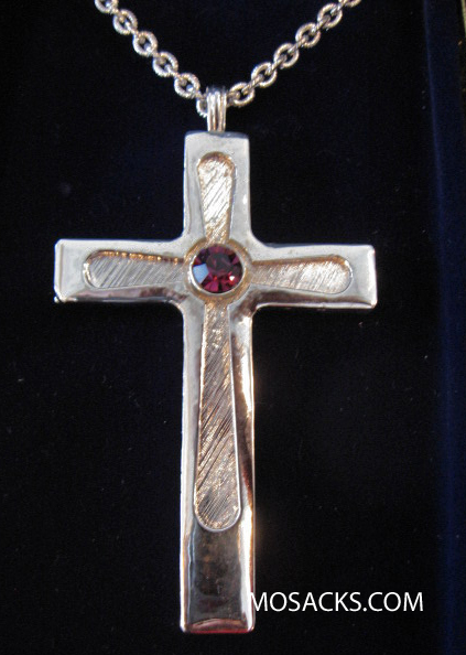 "Silver Finish Pectoral Cross w/Center Stone and 36"" Chain #52092"
