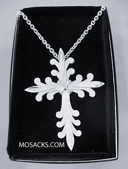 "Silver Finish Pectoral Cross in Sculptured Design w/ 36"" Chain #5206S"