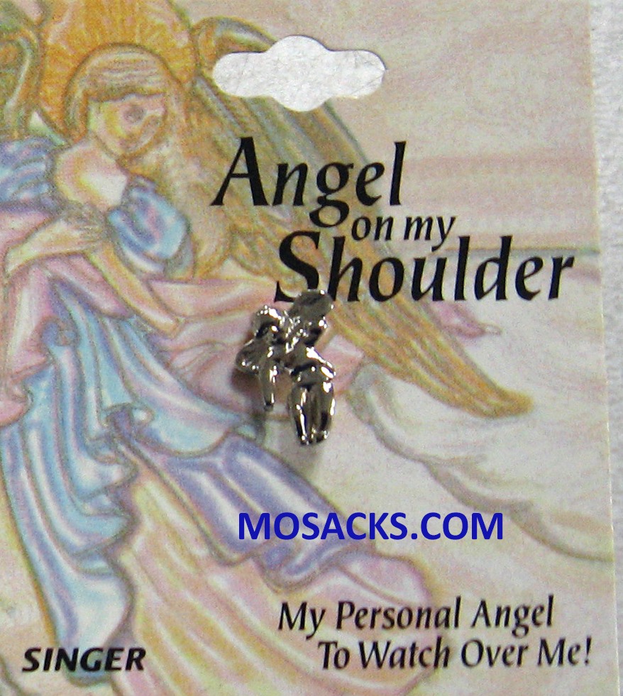 Angel On My Shoulder Lapel Pin Silver Tone 23-SJ9749