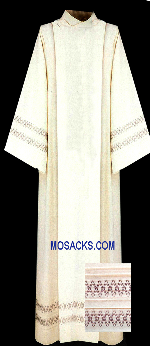Slabbinck Alb with Linear Embroidery in Greco Fabric, Style 100