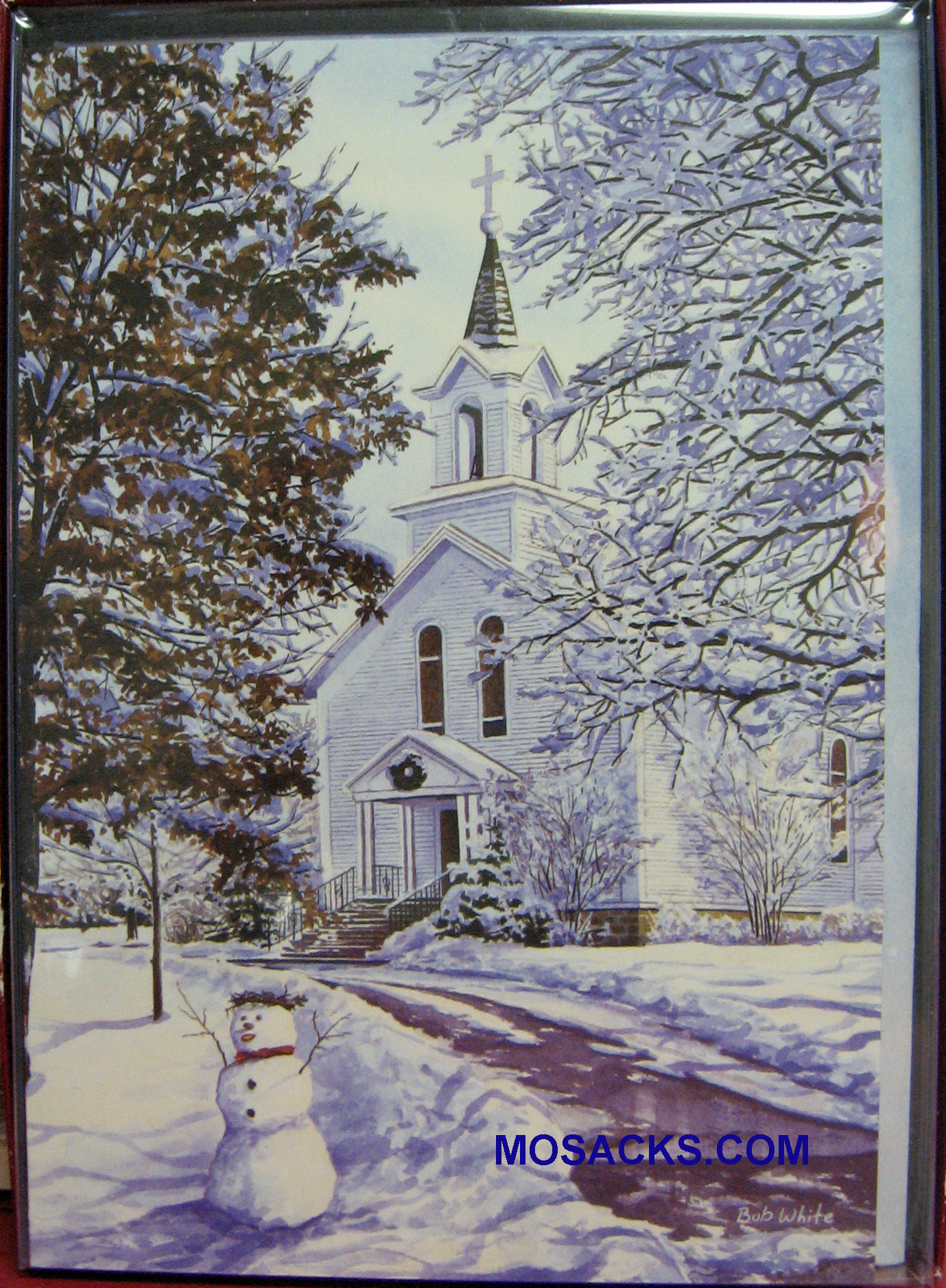 Boxed Christmas Cards Snowy Church Scene with Snowman Boxed Cards-C72120