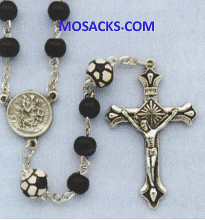 Soccer Black Glass Rosary 64-60965/BK/SOCR Sports Rosary