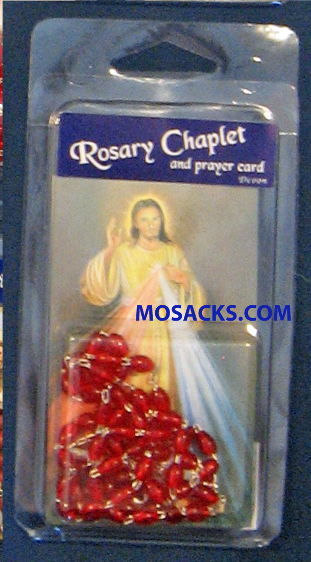 Specialty Rosary Divine Mercy Rosary and Chaplet Prayer Card 64-5880/CP