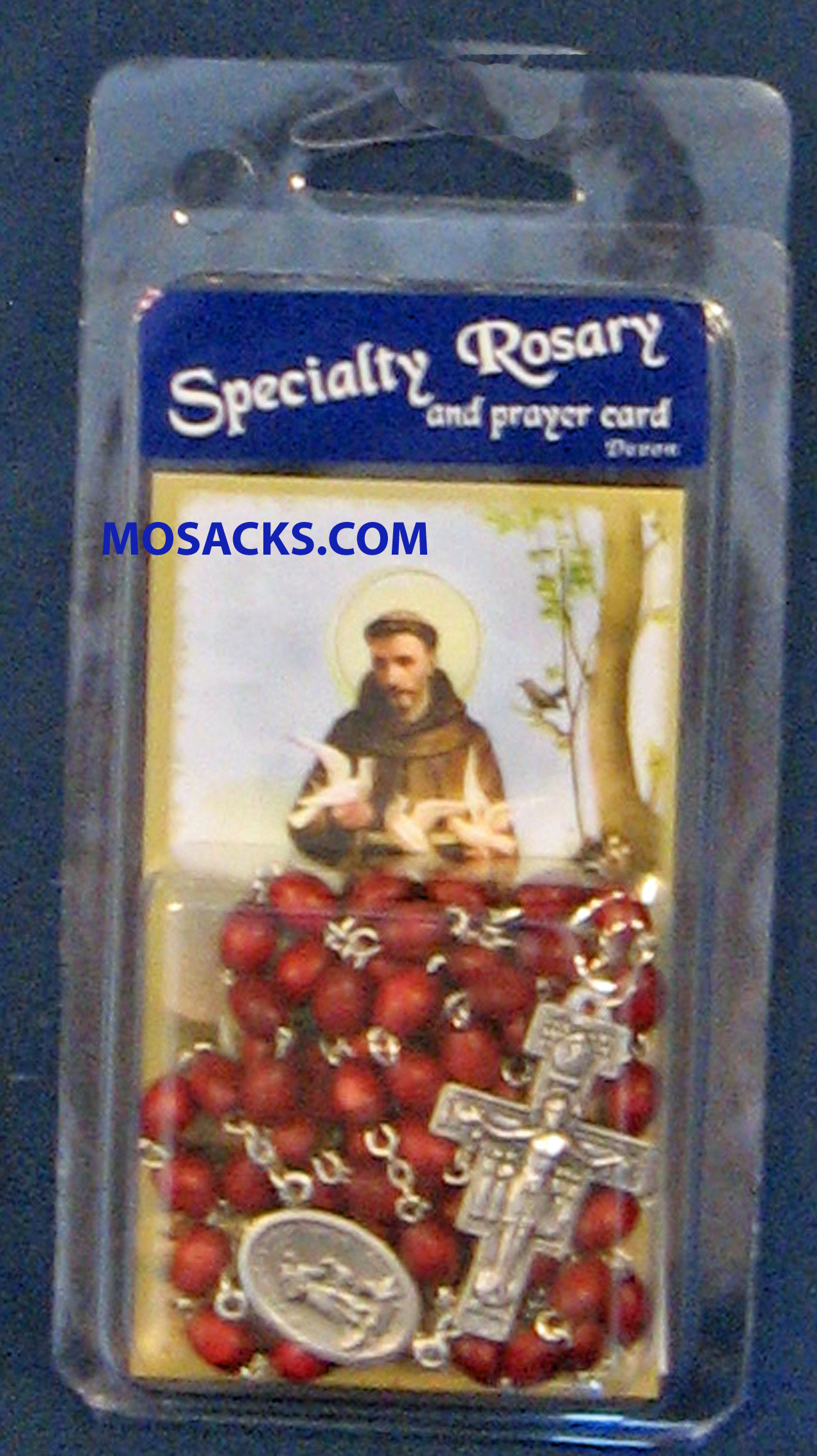 Specialty Rosary St. Francis of Assisi Brown Rosary and Peace Prayer Card 64-08622