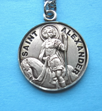 "St. Alexander Sterling Medal w/20"" S Chain"