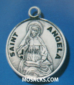 "St. Angela Sterling Silver Medal, 18"" S Chain, S-9707-18S"