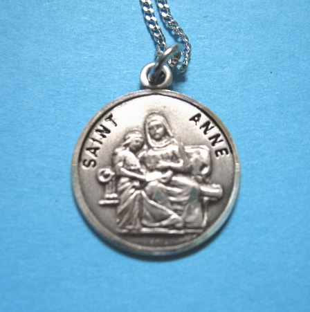 "St. Anne Sterling Medal w/18"" S Chain"