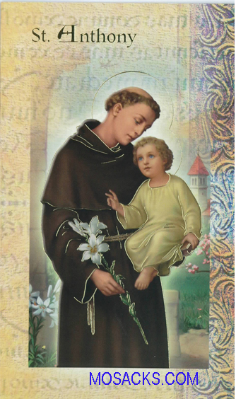 St. Anthony of Padua, Laminated Bi-Fold Holy Card, F5-300