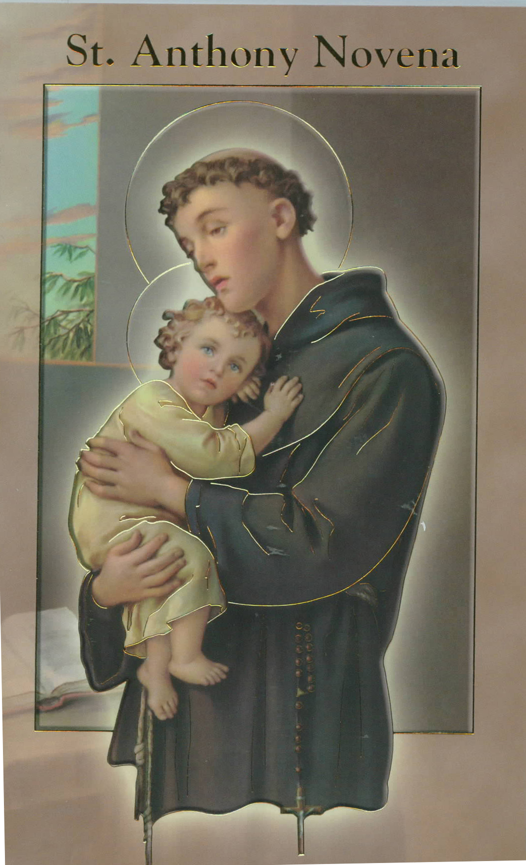 "St. Anthony Novena & Prayers Book 12-2432-300 is 3.75"" x 5-7/8"" and 24 pages beautifully illustrated with Italian Fratelli-Bonella Artwork and original text by Daniel A. Lord, S.J."