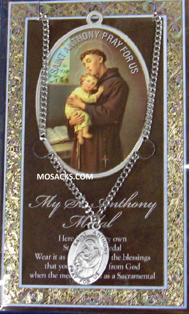 "St. Anthony Pewter Medal 1-1/16"" h 950-300"
