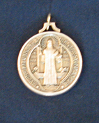 St Benedict 1-13/16 Inch Antique Silver Medal 12-1074