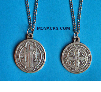 "Saint Benedict Round Medal Pendant with 18"" Chain"