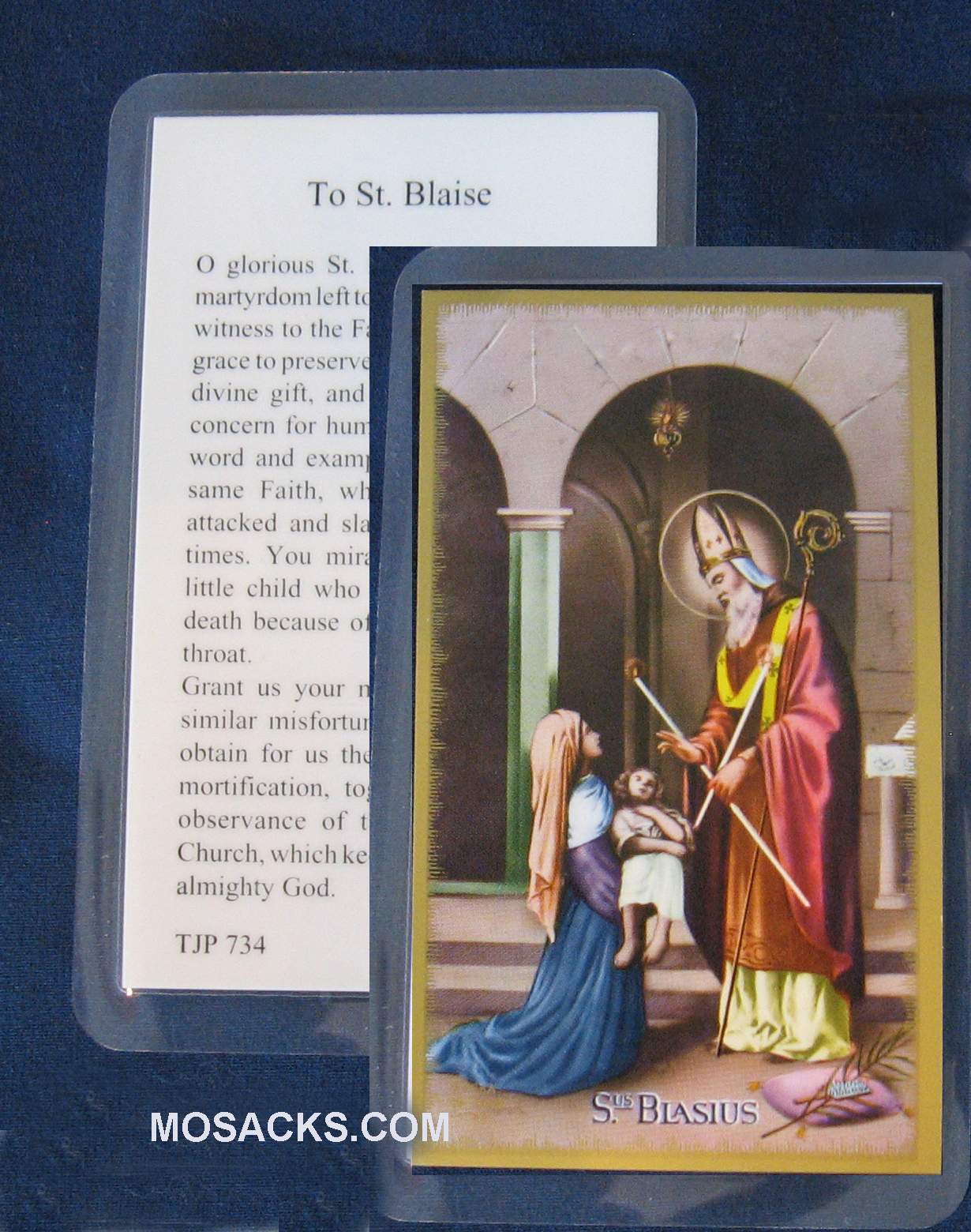 St. Blaise Patron Saint of Throats holy card E24-412