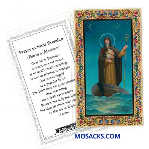 St.Brendan Patron Of Mariners Laminated Holy Card E73-413