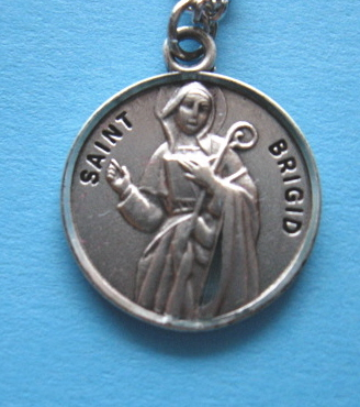 "St. Brigid Sterling Medal w/18"" S Chain"