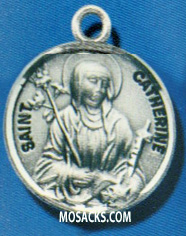 "St. Catherine Sterling Medal w/18"" S Chain"