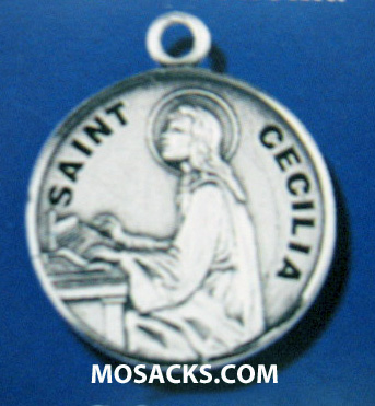 "St. Cecilia Sterling Medal w/18"" S Chain"