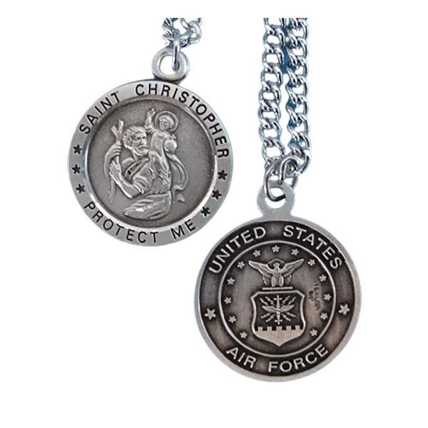 "St. Chris Air Force Sterling Medal w/24"" S Chain"