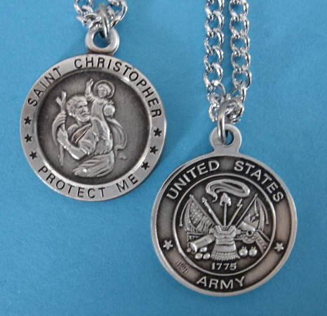 "St. Chris Army Sterling Medal w/24"" S Chain"