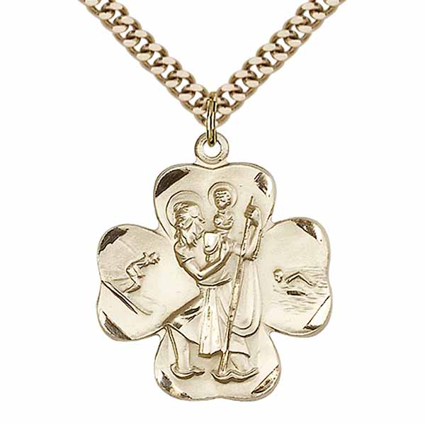"St. Christopher Clover 12 KT Gold Filled Medal 1""-4136GF/18GF"