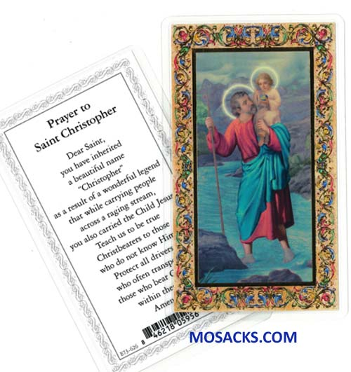 St. Christopher Laminated Holy Card E73-626