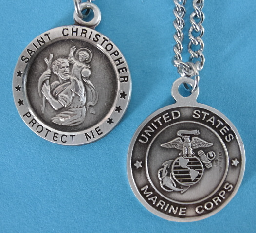 "St. Chris Marines Sterling Medal w/24"" S Chain"