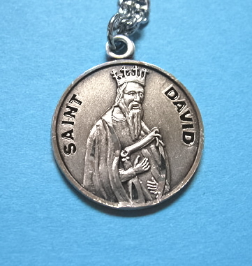 "St. David Sterling Medal w/20"" S Chain"
