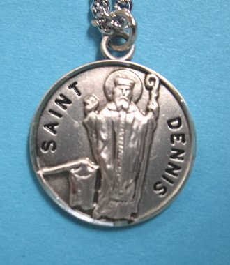 "St. Dennis Sterling Silver Medal, 20"" S Chain, S-9541-20S"