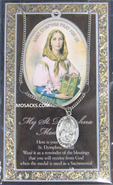 "St. Dymphna necklace St. Dymphna Pewter Medal 1-1/16"" h 950-434"