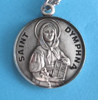 "St. Dymphna Sterling Silver Medal, 18"" S Chain, S-9726-18S"