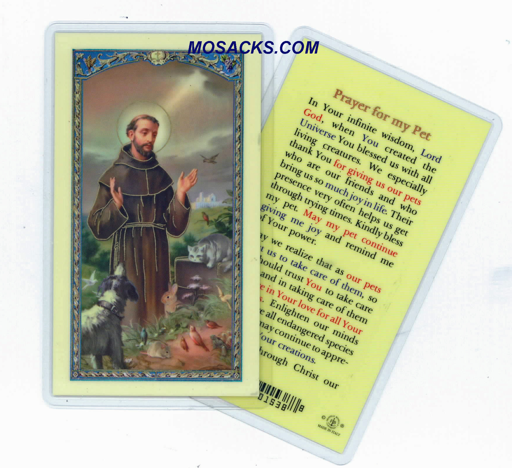 "St. Francis ""Prayer For My Pet"" Holy Card, E24-314 Laminated"