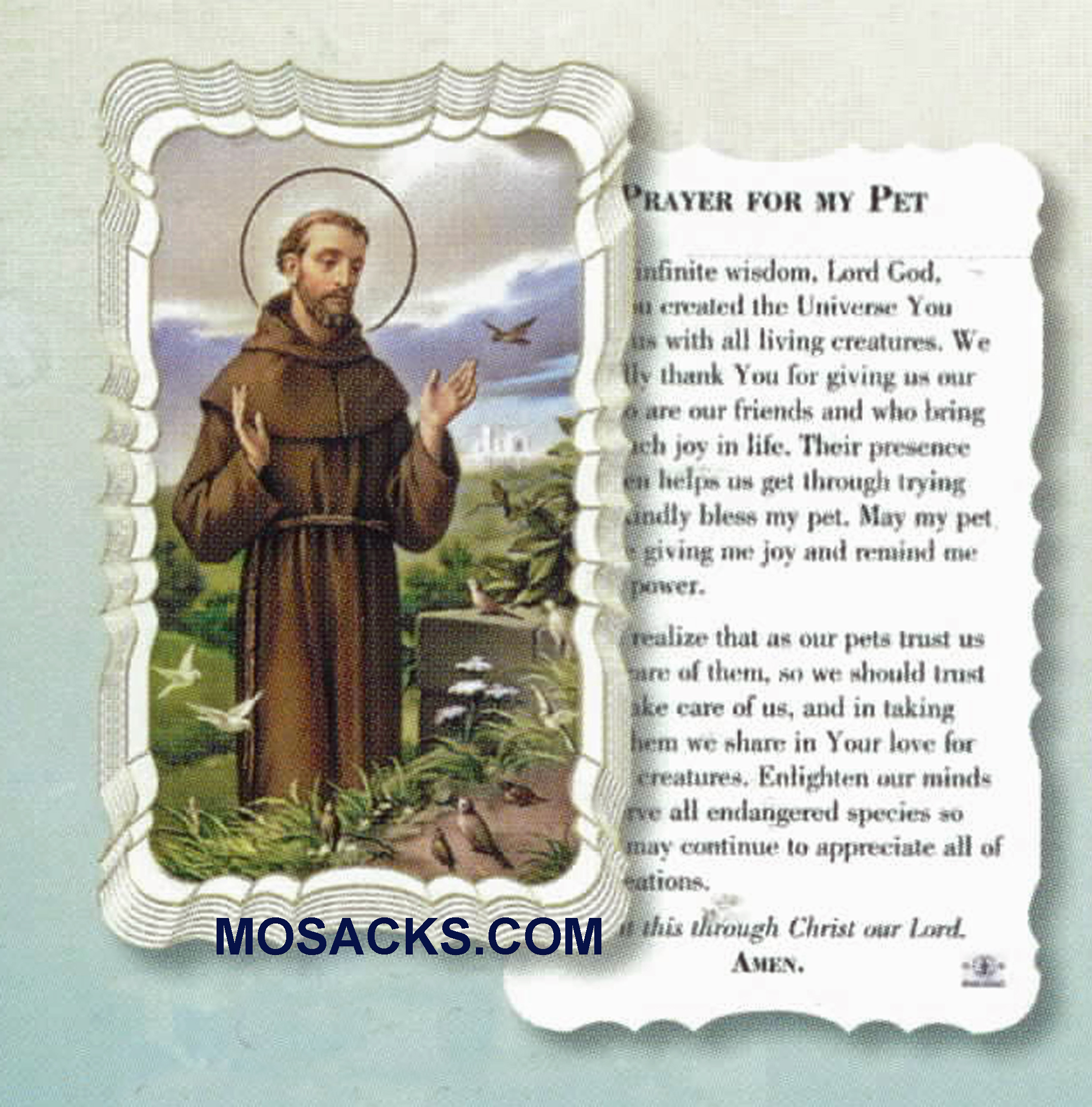 St. Francis Prayer For My Pet Holy Card, Scalloped Edges G50-314
