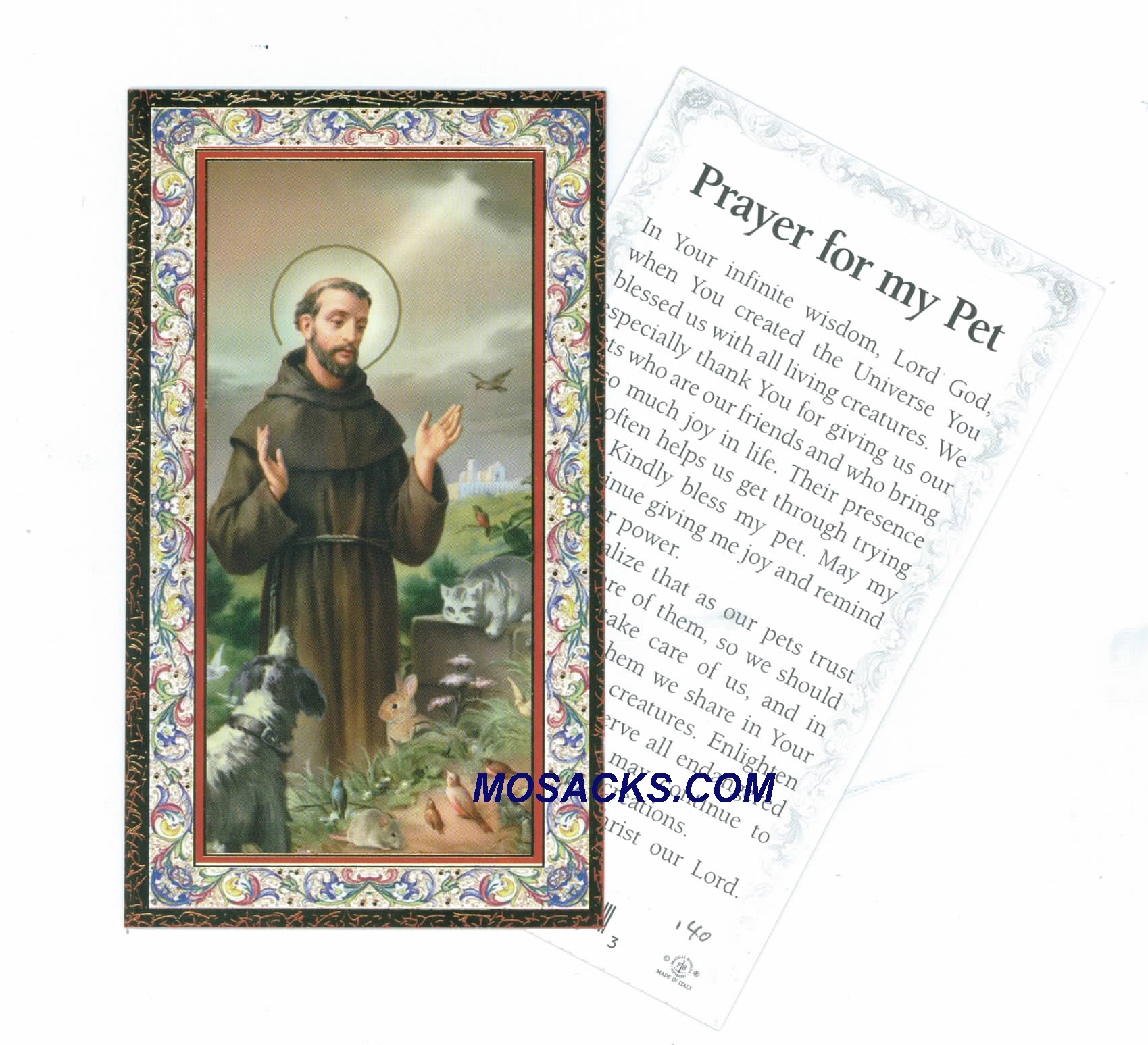 "St. Francis ""Prayer For My Pet"" Holy Card 734-314"