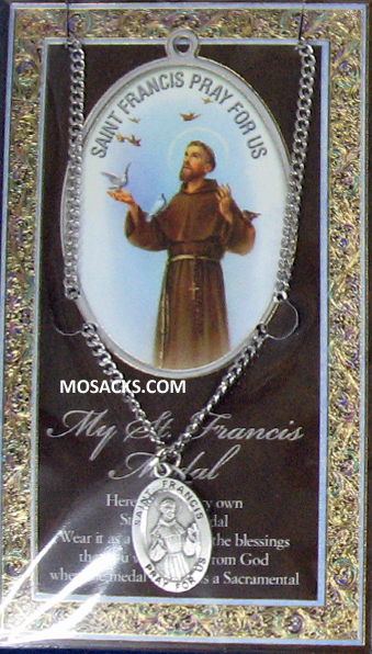 "St. Francis Pewter necklace St. Francis Pewter Medal 1-1/16"" h 950-310"