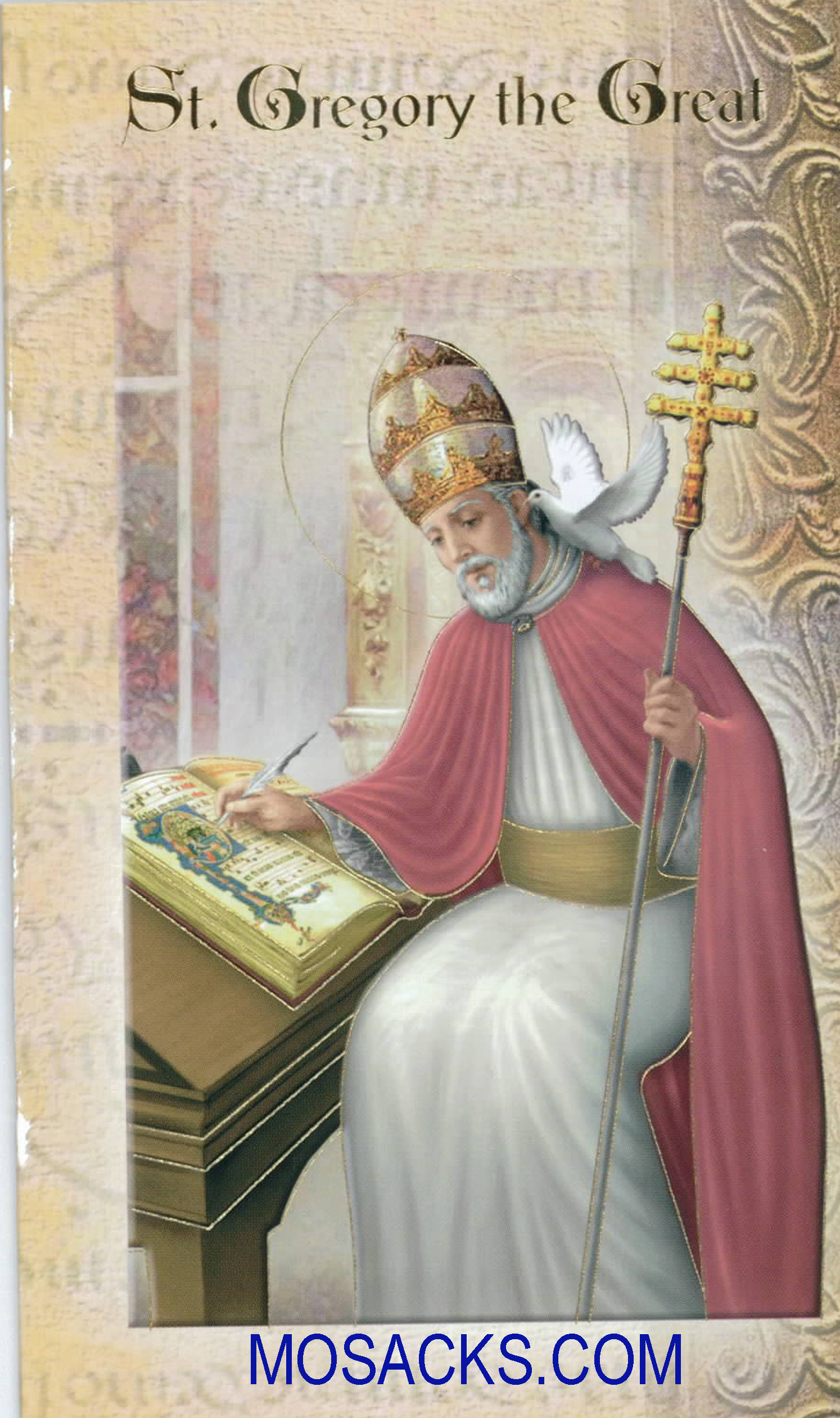 St. Gregory the Great Laminated Bi-fold Holy Card, F5-443