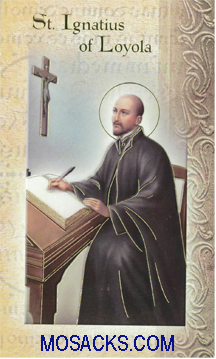 St. Ignatius of Loyola laminated Bi-fold Holy Card, F5-452