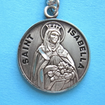 "St. Isabella Sterling Medal w/18"" S Chain"