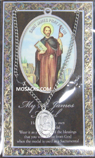 "St. James the Great necklace St. James the Great Pewter Medal 1-1/16"" h 950-455"