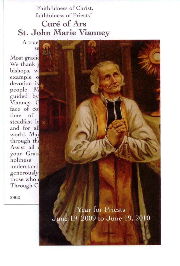 St. John Vianney Year for Priests Laminated Card