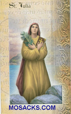 St. Julia laminated Bi-fold Holy Card, F5-458