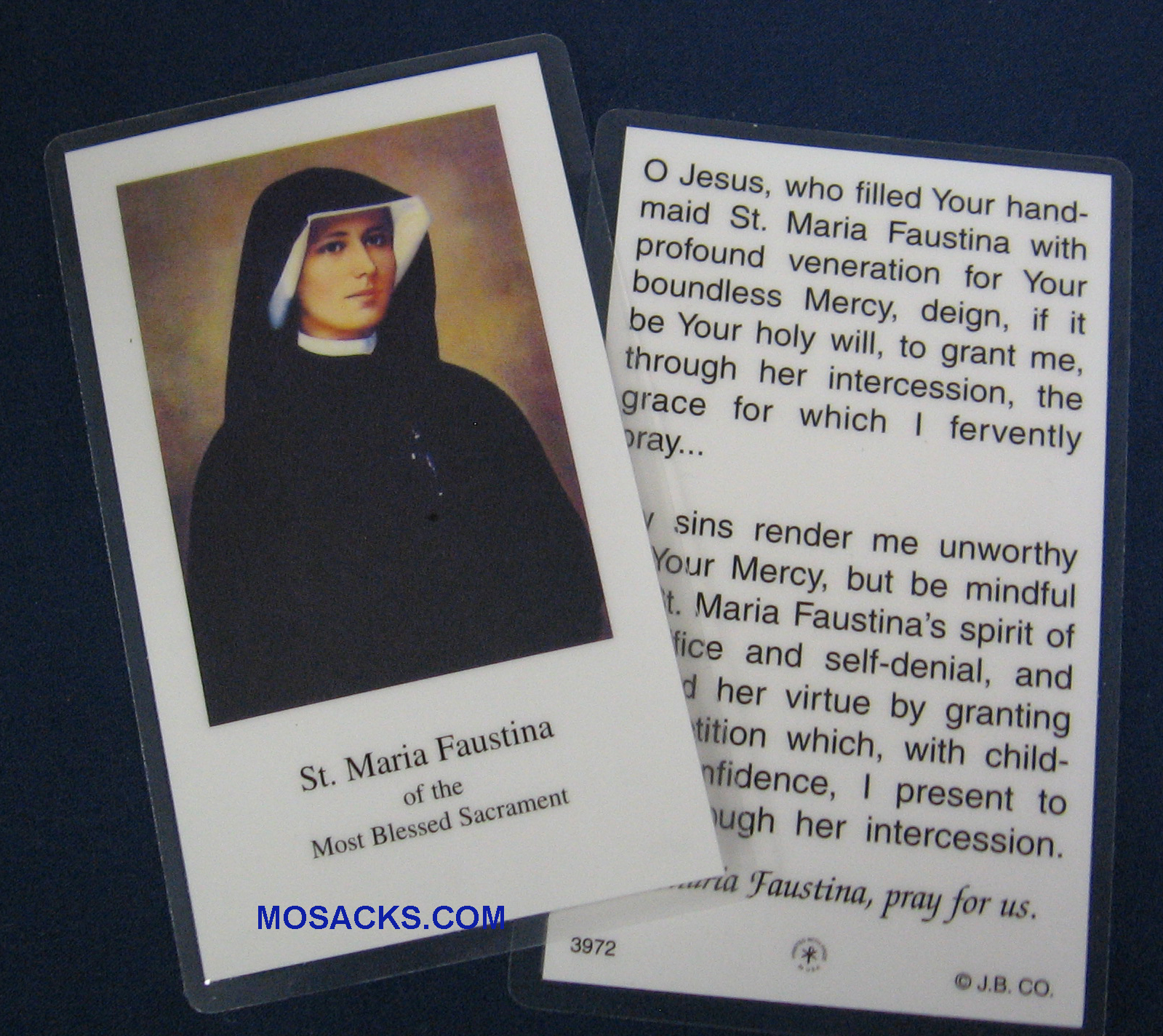 St Maria Faustina Laminated Prayer Card 2-3972 Divine Mercy Holy Card