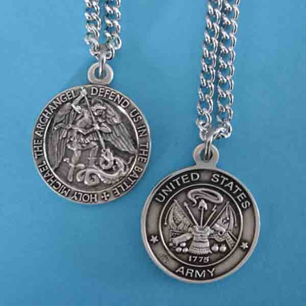 "St. Michael Army Sterling Medal w/24"" S Chain"