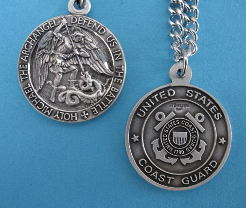 "St. Michael Coast Guard Sterling Medal w/24"" S Ch"