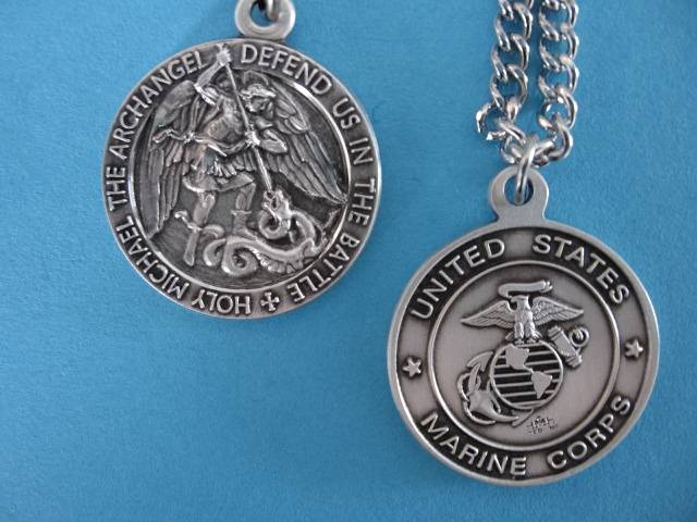 "St. Michael Marine Corps Sterling Medal w/24"" S Ch"