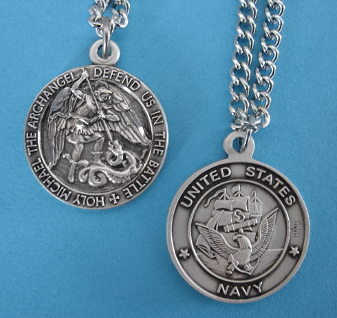 "St. Michael Navy Sterling Medal w/24"" S Chain"