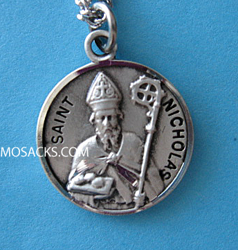 "St. Nicholas Sterling Medal w/20"" S Chain"