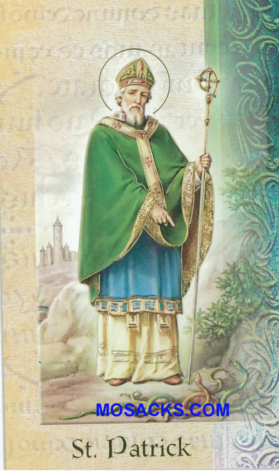 St. Patrick Laminated Bi-fold Holy Card, F5-640