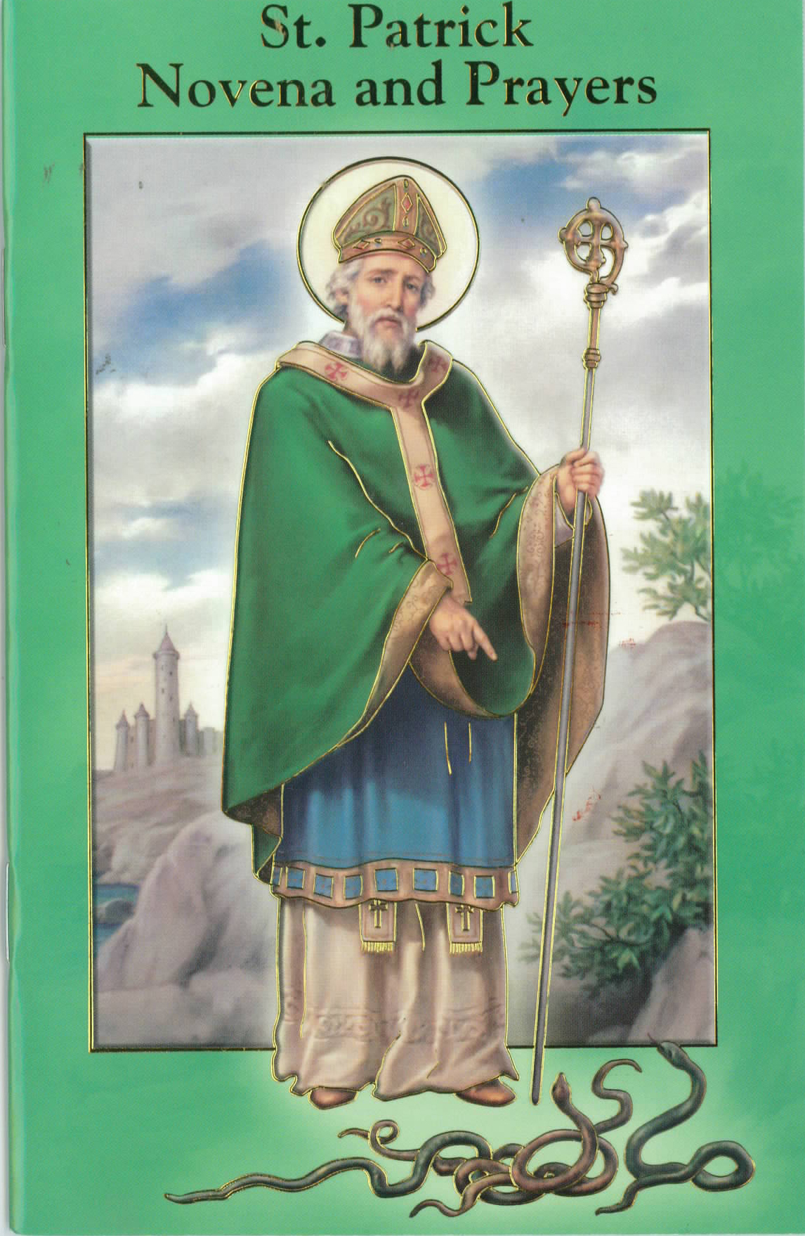 "St. Patrick Novena and Prayers Book 12-2432-640  is 3.75"" x 5-7/8"" and 24 pages beautifully illustrated with Italian Fratelli-Bonella Artwork."