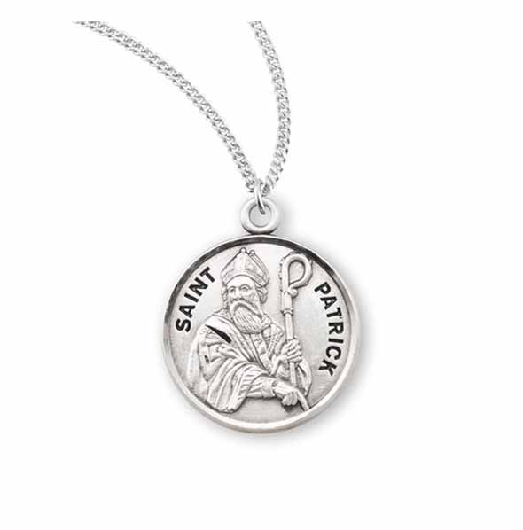"St. Patrick Sterling Medal w/20"" S Chain"