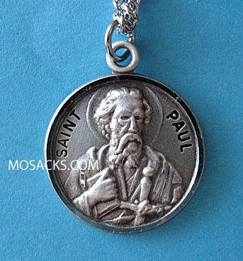 "St. Paul Sterling Medal w/20"" S Chain"